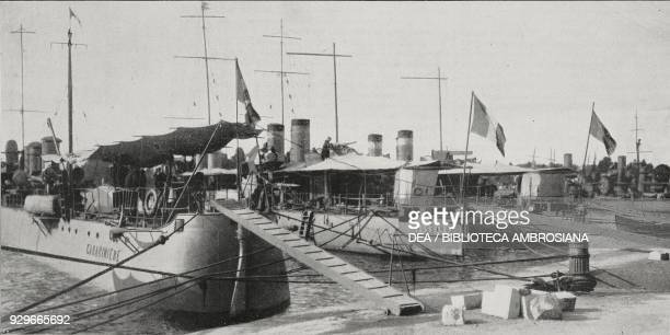 Italian and French torpedoes in Brindisi used for the Albanian Coast Guard service Italy from L'Illustrazione Italiana Year XL No 21 May 25 1913