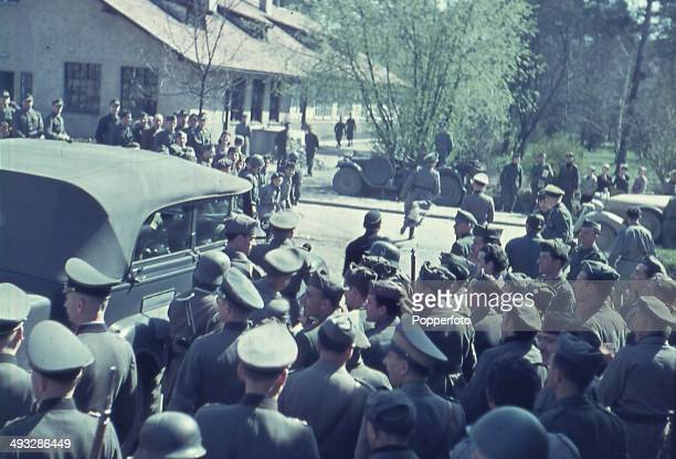 Italian and German troops await the arrival of German Chancellor Adolf Hitler and Italian Prime Minister Benito Mussolini during the Axis leaders...