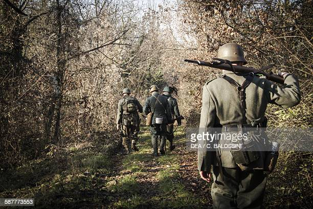 Italian and Wehrmacht soldiers Italian front Second World War 20th century Historical reenactment
