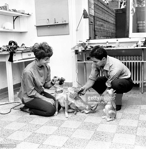 Italian animation artist Maria Perego inventor of Topo Gigio and her husband Italian director and scriptwriter Federico Caldura showing two of their...