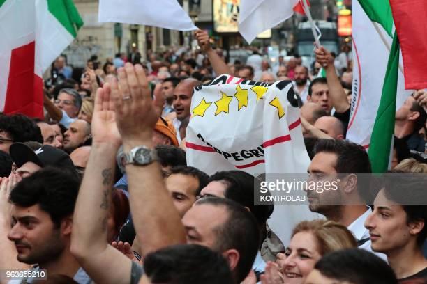 Italian anti-establishment party Movimento 5 stelle - M5S supporters protest against the Italian President of the Republic Sergio Mattarella who did...