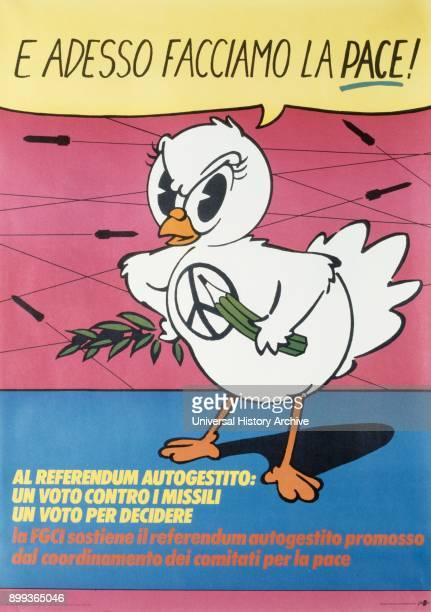 Italian antinuclear weapons antiwar Peace campaign poster during the Cold war 1983
