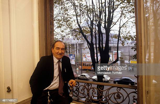 Italian architect and designer Marco Zanuso during an interview has portrayed himself before the window leaned at the wrought iron railing of the...