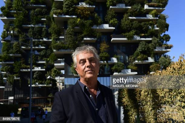 CORNU Italian architect and urban planner Stefano Boeri poses on September 5 2017 at the architectural complex designed by Studio Boeri the Bosco...