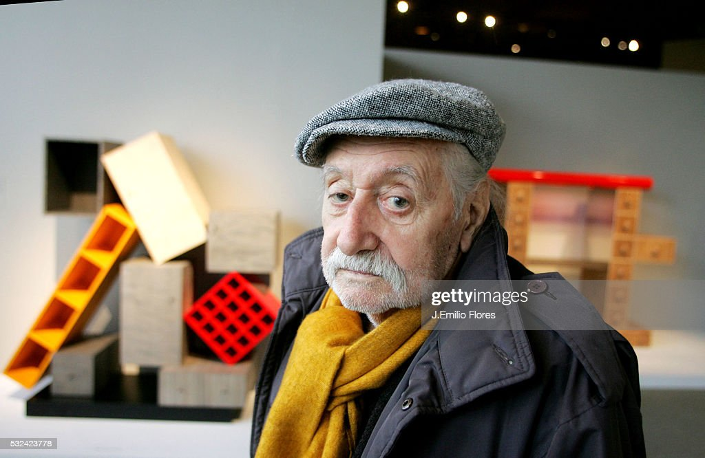 Italian Architect Ettore Sottsass surrounded by some of his designs at Los Angeles County Museum of Art. Sottsass is recognized as a major figure in architecture and design. His work is currently on exhibition until June 2006 at Los Angeles County Museum of Art.