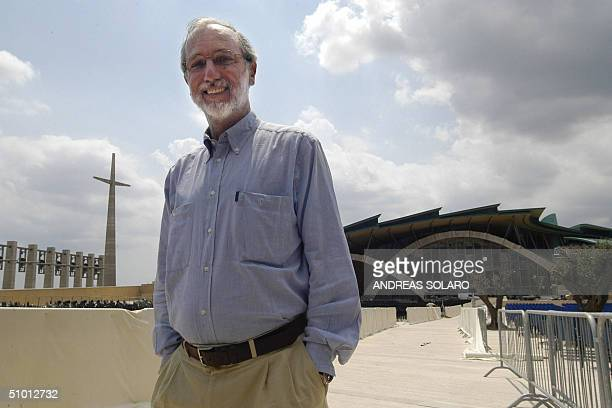 Italian architect Renzo Piano poses in front of his huge church dedicated to Padre Pio in San Giovanni Rotondo southern Italy 30 June 2004 Several...