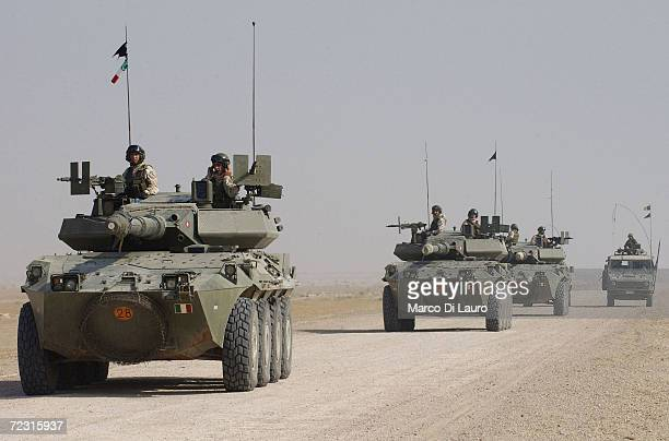 Italian Army soldiers from Friuli Brigade of the Italian Joint Task Force Iraq drive across the desert during Operation 'Strong Hammer' on October 12...