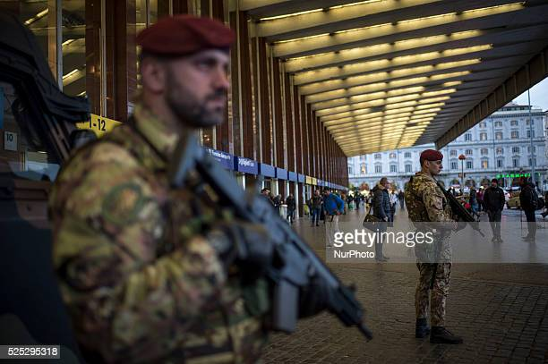 Italian Army soldiers patrol outside Termini train station in downtown Rome, italy on November 23 as security is tightened after deadly attacks in...