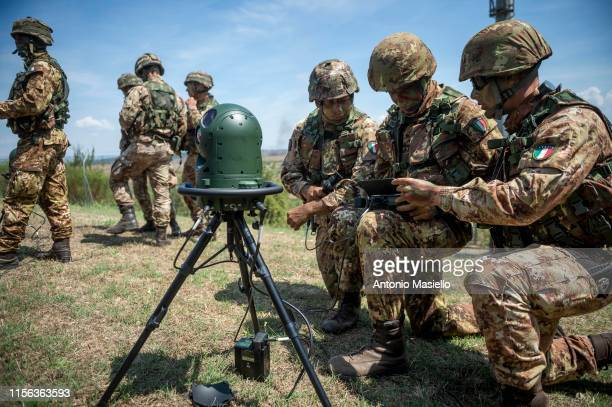 Italian Army soldiers take part in a military training at an exercise camp near Rome on July 18 2019 in Monte Romano Italy Around 1400 soldiers of...