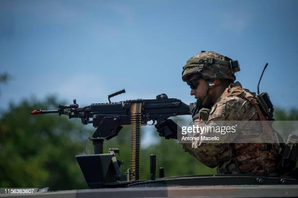 Italian Army soldiers take part in a military training at the exercise camp of Cesano on July 18 2019 in Rome Italy Around 1400 soldiers of the...