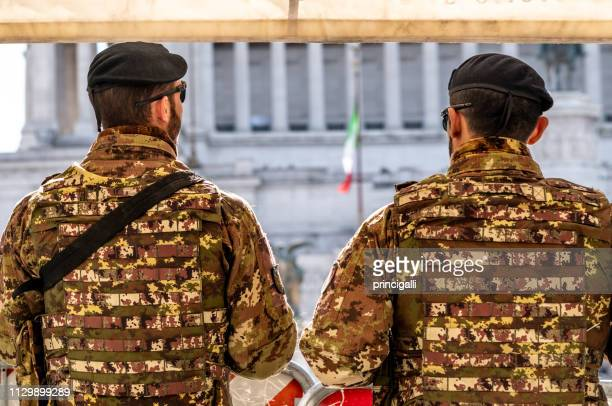 italian army surveillance in rome, italy. - italian military stock pictures, royalty-free photos & images