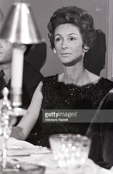 Italian art collector socialite and style icon Princess Donna Marella Caracciolo di Castagneto wife of Italian tycoon Gianni Agnelli attends a dinner...