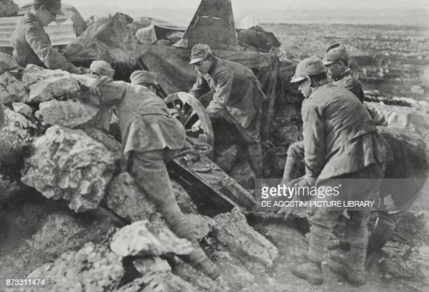 Italian artillery in the trenches of the Karst region, World War I, from L'Illustrazione Italiana, Year XLIII, No 15, April 9, 1916.