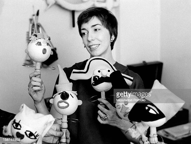 Italian artist and puppets designer Maria Perego showing her works 1950s