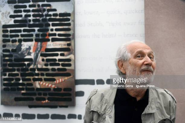 Italian artist Emilio Isgrò attends the preview of his personal exhibition at Fondazione Cini on September 12 2019 in Venice Italy