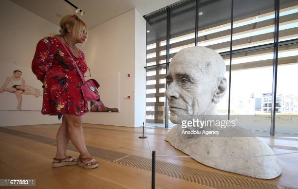 Italian artist Guido Casaretto's artwork 'Do unpleasant people share similar features' is on display at Odunpazari Modern Art Museum which was...