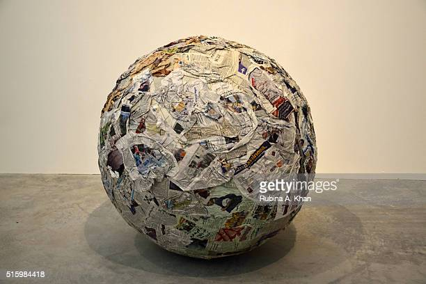 Italian artist Michelangelo Pistoletto's works at the Leila Heller Gallery at Alserkal Avenue on March 16 2016 in Dubai United Arab Emirates
