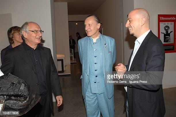 "Italian artists Giuseppe Maraniello and Luigi Ontani visits the exhibithion about designer Dino Gavina ""Lampi di Design"" at MAMBO modern arts museum..."
