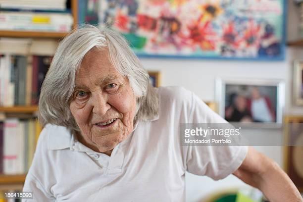 Italian astrophysicist Margherita Hack posing at home Trieste 21st June 2012