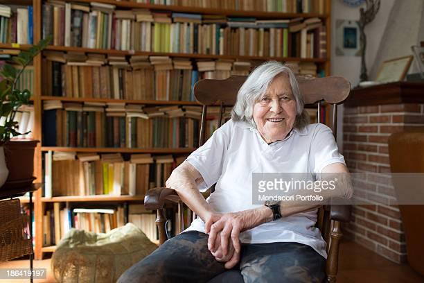 Italian astrophysicist Margherita Hack smiling at home where she keeps over twenty thousand books Trieste 21st June 2012