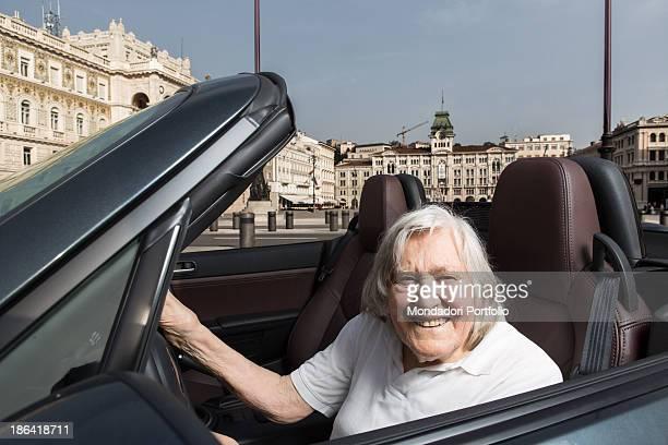 Italian astrophysicist Margherita Hack smiling driving her car Trieste 21st June 2012