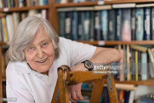 Italian astrophysicist Margherita Hack smiling leaned on a ladder Trieste 21st June 2012