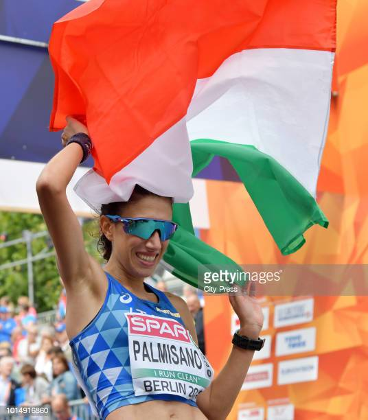 Italian athlete Antonella Palmisano celebrates after the Men's and Women's 20km Race Walk during day five of the 24th European Athletics...