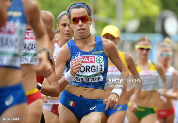 Italian athlete Eleonora Giorgi competes in the Men's and Women's 20km Race Walk during day five of the 24th European Athletics Championships on...
