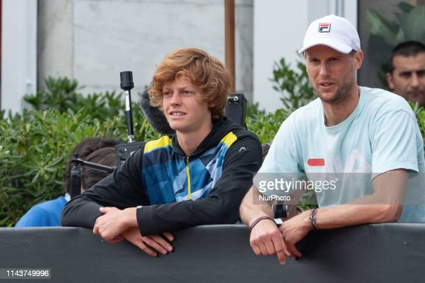 Italian athlete Filippo Tortu meet Jannik Sinner before his training session during Internazionali BNL D'Italia Italian Open at the Foro Italico Rome...