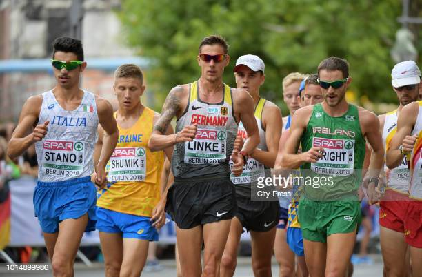 Italian athlete Massimo Stano german athlete Christopher Linke and irish athlete Alex Wright compete in the Men's and Women's 20km Race Walk during...