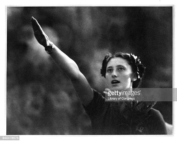 Italian athlete Ondina Valla saluting circa 1936