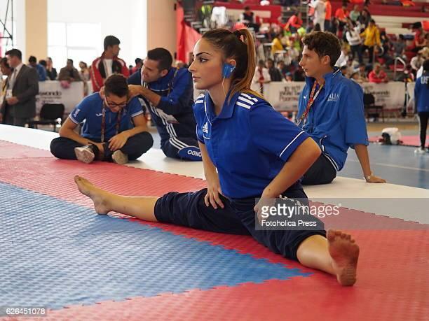 Italian athlete training in the 10th WTF World Taekwondo Poomsae Championship taking place in Lima Peru