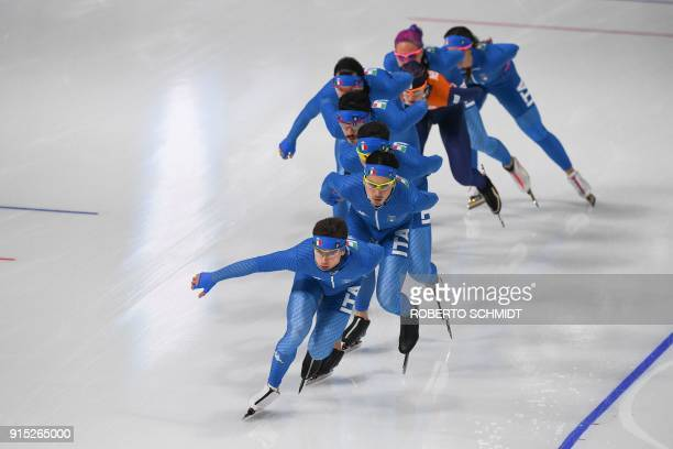 Italian athletes take part in a training session of speed skating at the Gangneung Oval before the Pyeongchang 2018 Winter Olympic Games on February...