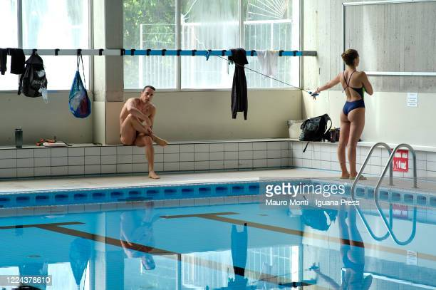 Italian athlets of swimming national team, Martina Carraro and Fabio Scozzoli during their first practice session since the lockdown caused by the...