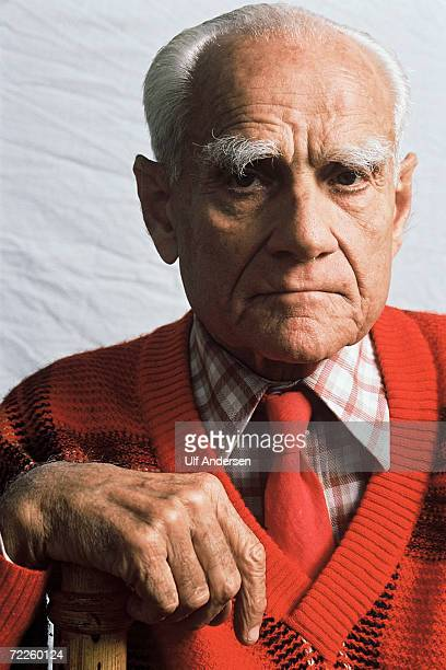 Italian author Alberto Moravia poses while in ParisFrance on the 23rd of May 1989