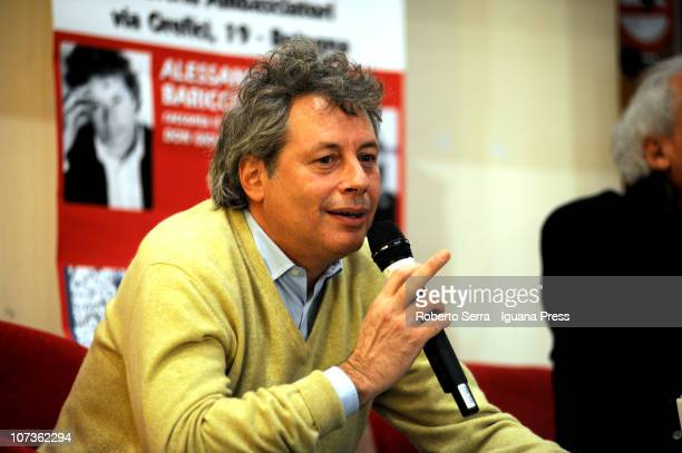 Italian author Alessandro Baricco with coauthor Stefano Benni present their book 'Don Giovanni' and 'Cyrano de Bergerac' at Coop Ambasciatori...