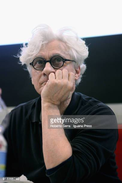 Italian author and intellectual Franco Berardi 'Bifo' professor of aesthetic theory unveils his performance 'Auschwitz on the Beach' at University of...