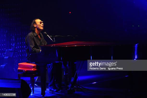 Italian author and musician Antonello Venditti performs in concert during the 'Unica' tour held at PalaDozza on April 14 2012 in Bologna Italy