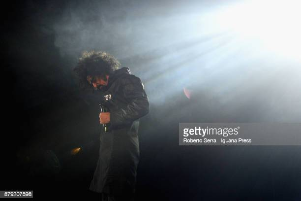 Italian author and musician Caparezza performs on stage for his Prisoner 709 tour at Unipol Arena on November 25 2017 in Bologna Italy