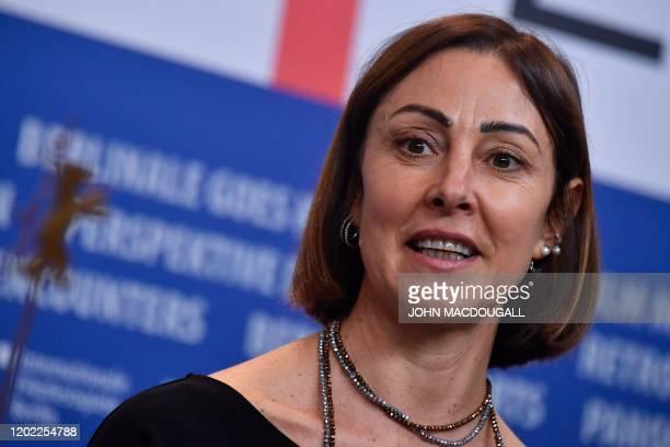 Italian author Tania Pedroni attends a press conference for the film Volevo Nascondermi screened in competition at the 70th Berlinale film festival...