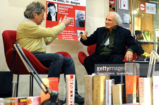 Italian authors Alessandro Baricco and Stefano Benni present their books 'Don Giovanni' and 'Cyrano de Bergerac' at Coop Ambasciatori bookshop on...