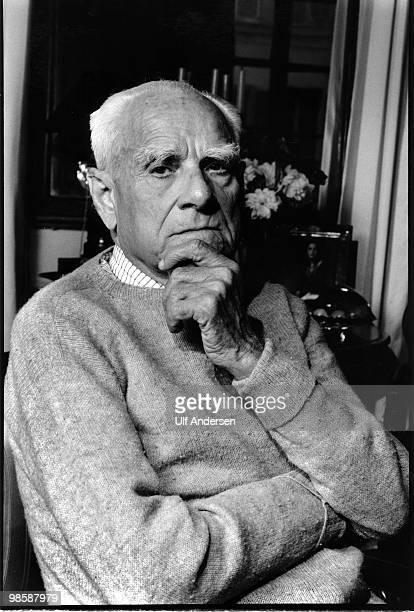 PARIS FRANCE MARCH 23 Italian author/writer Alberto Moravia during Portrait Session held in 1989
