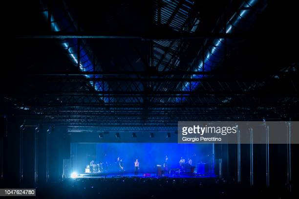 Italian band Baustelle perfom live during the event called 'Baustelle La fine dell'amore la fine della violenza Amen @OGR' at Officine Grandi...
