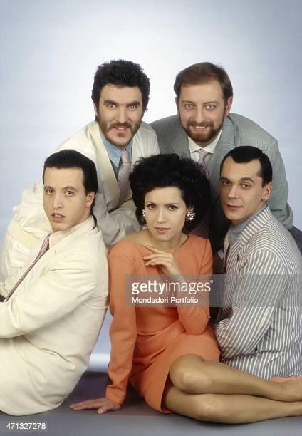 Italian band Matia Bazar posing on a photo set The band is formed by Italian guitarist Carlo Marrale Italian keyboard player Mauro Sabbione Italian...