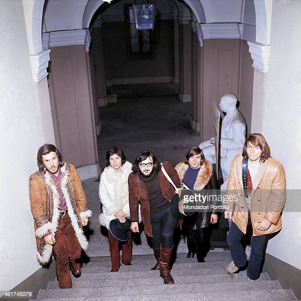Italian band Nomadi climbing a staircase The band is composed by Italian singer Augusto Daolio Italian keyboard player Beppe Carletti Italian...