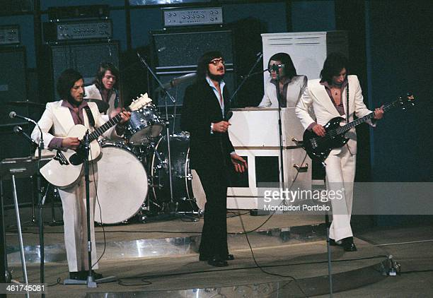 Italian band Nomadi performing at 21st Sanremo Music Festival The band is composed by Italian singer Augusto Daolio Italian keyboard player Beppe...