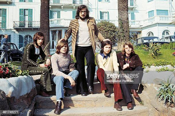 Italian band Nomadi posing in a garden in Sanremo during the 21st Sanremo Music Festival The band is composed by Italian singer Augusto Daolio...