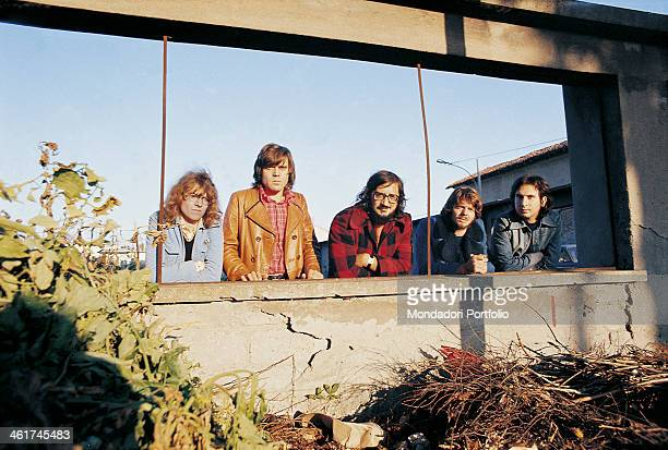 Italian band Nomadi posing leaned against a parapet The band is composed by Italian singer Augusto Daolio Italian keyboard player Beppe Carletti...