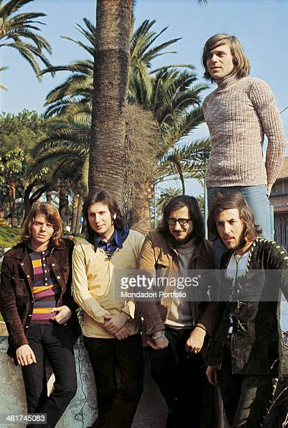 Italian band Nomadi posing leaned against a wall in Sanremo during the 21st Sanremo Music Festival where they sing the song Non dimenticarti di me...