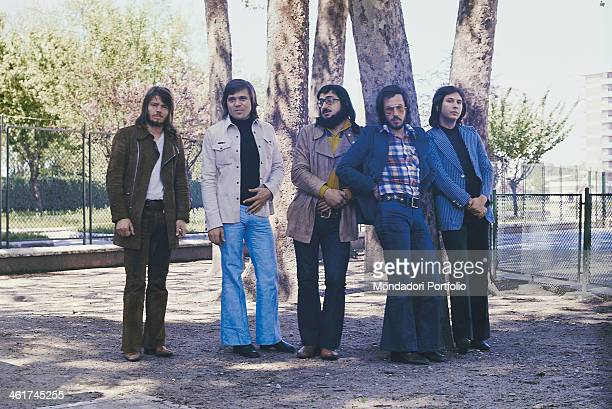 Italian band Nomadi posing near some trees The band is composed by Italian singer Augusto Daolio Italian keyboard player Beppe Carletti Italian...
